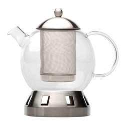 Berghoff - Berghoff Dorado 4-Piece Tea Pot 5.5 Cups - Set includes: Glass teapot, stainless steel lid, strainer and stand. 18/10 stainless steel for the stand, strainer and lid. The teapot is made of glass and is heat-resistant up to 356 degree F.