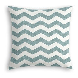 Aqua & White Chevron Custom Euro Sham - The secret to those perfectly made beds you eye in magazines? Euro shams. Complete your bed set with a set of Simple Euro Shams for a look that's as stylish as it is snuggly.  We love it in this graphic chevron in a washed aqua blue and ivory on lightweight linen that adds a punch of color to the contemporary home.