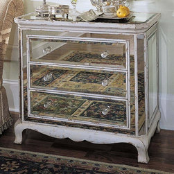 Hooker Furniture - French Mirrored Chest w Drawers - Three drawers. Multi-faceted pulls for prismatic effect. Adjustable levelers. Made from hardwoods with antique mirrored panels. Antique parchment finish with rub-through on wood frame. Drawers: 24.75 in. W x 16.25 in. D x 5.25 in. H. Leg height: 5.5 in.. Overall: 36 in. W x 20 in. D x 32.25 in. H