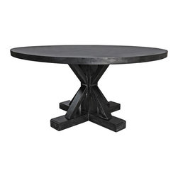 NOIR - NOIR Furniture - Criss-Cross Round Table in Hand Rubbed Black - Featuring natural, simple and classic designs, Noir products supply a timeless complement to a variety of interiors. The Criss cross round table top is complemented by the dynamic visual of sleek straight lines intersecting in the pedestal. A rubbed black finish over mahogany adds texture and character that supplies dining rooms with timeless warmth. Finish will feature distressed characteristics.