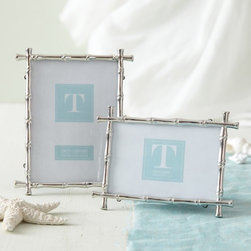 Two's Company Silver Bamboo Frame, Small - These silver frames are a classic staple of Palm Beach chic. I love them in groups on pianos or tables.