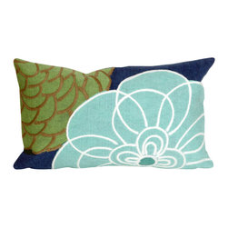 """Trans-Ocean Inc - Disco Blue 12"""" x 20"""" Indoor Outdoor Pillow - The highly detailed painterly effect is achieved by Liora Mannes patented Lamontage process which combines hand crafted art with cutting edge technology. These pillows are made with 100% polyester microfiber for an extra soft hand, and a 100% Polyester Insert. Liora Manne's pillows are suitable for Indoors or Outdoors, are antimicrobial, have a removable cover with a zipper closure for easy-care, and are handwashable.; Material: 100% Polyester; Primary Color: Blue;  Secondary Colors: green, white; Pattern: Disco; Dimensions: 20 inches length x 12 inches width; Construction: Hand Made; Care Instructions: Hand wash with mild detergent. Air dry flat. Do not use a hard bristle brush."""