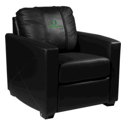 Dreamseat Inc. - University of Oregon NCAA Alt Logo Xcalibur Leather Arm Chair - Check out this incredible Arm Chair. It's the ultimate in modern styled home leather furniture, and it's one of the coolest things we've ever seen. This is unbelievably comfortable - once you're in it, you won't want to get up. Features a zip-in-zip-out logo panel embroidered with 70,000 stitches. Converts from a solid color to custom-logo furniture in seconds - perfect for a shared or multi-purpose room. Root for several teams? Simply swap the panels out when the seasons change. This is a true statement piece that is perfect for your Man Cave, Game Room, basement or garage.