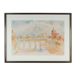 Lost Art Salon - Morning, Tiber, Rome 1968 Original Framed Watercolor - This watercolor will add a glow to your wall, with its classic depiction of the sun rising over the river Tiber. Bring Rome home with this lovely landscape, painted in 1968 by David Landis. The frame of vintage dark oak wood frame adds a golden glow to the whole scene.