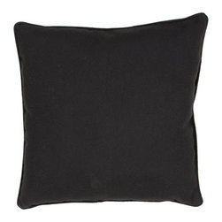 Jaipur - Veranda Black 20-Inch Decorative Pillow - - These fashion forward pillows in trellis stripes and whimsical patterns are for both indoor and outdoor use       - Care Instructions: Remove the throw pillow's cover if it is removable. Wash the cover separately from the pillow. Pre-treat badly soiled or stained areas on the pillow cover with a color-safe prewash spray. Rub the spray into the stain with a damp sponge. Wash the pillow cover or the whole pillow on a gentle-wash cycle in warm water with a very mild detergent. Detergent for delicate fabrics or baby clothes is usually suitable. Remove the pillow or pillow cover as soon as the washing machine has ended the cycle and has shut off. Hang the pillow or cover up to dry in a well-ventilated area. If the care label specifies that the item is dryer-safe place the pillow or pillow cover in the dryer and tumble dry on low heat. Fluff the pillow once it is dry in order to maintain its form. Don't use the pillow until it is completely dry. Damp pillows will attract dirt more easily  - Made in USA Jaipur - PLW101750