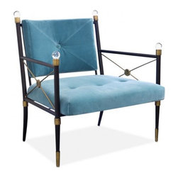 Jonathan Adler - Jonathan Adler Rider Lounge Chair - NOW IN STOCK! - Neo-Classical Glamour - Our nod to the classic campaign chair is made from a chic blackened metal frame with swanky details--Lucite finials, brass leg cuffs and a tooled floral escutcheon. Low and loungy and comfy but formal enough for a Park Avenue penthouse.• Handcrafted• Blackened metal frame with teal velvet upholstery