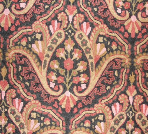 Crewel Fabric Paisley Tapestry Brights and Blacks Cotton- Yardage - Artisans in a remote mountain village in Kashmir crewel stitch these blossoms, vines and leaves by hand, resulting in a lush pattern of richly shaded wool yarns on Linen, Cotton, Velvet and Silk.