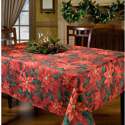None - Poinsettia Elegance Printed Oblong Tablecloth 60x120 Inches - Painterly poinsettias pattern the textured fabric of this oblong tablecloth from Benson Mills. The luxurious tablecloth is ideal for lending a touch of holiday spirit to your dining decor.
