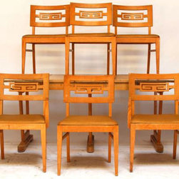 Dining Set With 6 Greek Key Chairs - Rare offering of Mid Century modern dining set in all original condition, never restored or updated. Attributed to Paul Frankl for Brown Saltman. Waiting for your designer touch. Table, 4 side chairs, 2 arm chairs finished in white oak. We offer restoration services for an additional fee. Chairs alone are listed on 1st Dibs for nearly $7000. 3 leaves.