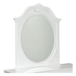 Standard Furniture - Standard Furniture Jessica Oval Kids' Mirror in White - Charming and inviting, Jessica's delightful details will lend a lovely Victorian cottage ambiance to every young ladies bedroom space.