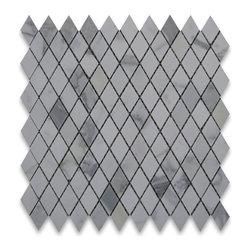 "Stone Center Corp - Calacatta Gold Marble Rhomboid Diamond Mosaic Tile 1 x 1 7/8 Honed - Calacatta gold marble 1x1 7/8"" rhomboid pieces mounted on 12"" x 12"" sturdy mesh tile sheet"
