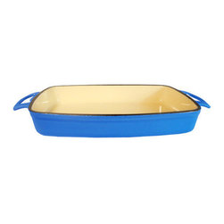 """Le Chef Cookware - Le Chef Enamel Cast Iron Blue Rectangular Roasting Dish, 11"""" - LeChef Cookware® porcelain nameled coating cast iron roaster is cast from molten iron in individual sand molds. LeChef roasters feature wide shallow shapes to allow maximum exposure of the food to the heat source. The wide, shallow shape of these pieces exposes the maximum surface area of the food to the heat source, whether it be all around heat in the oven, under the broiler or even on the stovetop. It also comes equipped with matching side loop handles. The excellent heat retention reduces the amount of energy needed for roasting. In addition the hard and glossy porcelain enameled surface is chip resistant and easy to clean. Hygienic porcelain enamel is non-reactive with food."""
