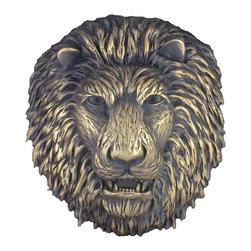 "Metal finish pool fountain spitter lion head - Size:Lion Head 13"" x 12"" x 5"""