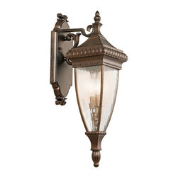 KICHLER - KICHLER Venetian Rain Traditional Outdoor Wall Sconce X-ZRB13194 - From the Venetian Rain Collection, this Kichler Lighting outdoor wall sconce pairs classic, romantic details with a traditional feel from the warm Bronze finish to the unexpected final touch of the vertical rain glass.