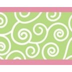 "Sweet Jojo Designs - Olivia Wall Paper Border (15' x 6"") - Swirling designs of cool green are surrounded by a pop of bright pink on this easy to apply wallpaper border. Adding a three-dimensional feel to your walls while bringing out the fun, your room will thank you."