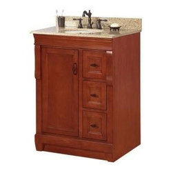 Foremost - Foremost Naples 25 in. W x 22 in. H Vanity, Warm Cinnamon (NACABG2522) - Foremost NACABG2522 Naples 25 in. W x 22 in. H Vanity with Granite Top in Beige and Single Bowl in White, Warm Cinnamon