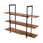 Stylo - Wood and Black Steel Shelving Unit - Form and function in equal harmony — you won't settle for less in your modern home. Here, in wood and steel, your shelving requirements are splendidly met with solid craftsmanship and a sleek look.