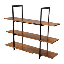 Wood and Black Steel Shelving Unit