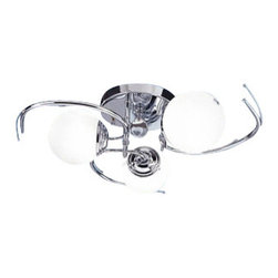 """Joshua Marshal Home - 3 Light 25"""" White Glass Modern Chrome Semi Flush Mount Fixture - Once its unique contemporary design greets you, it's no surprise why the Contempr� Series is our fastest-selling modern collection to date. Add this fixture to any space and discover a unique design truly unlike any other and create dramatic lighting effects for a chic, stylized environment. This fixture it is 25"""" wide by 9"""" tall."""