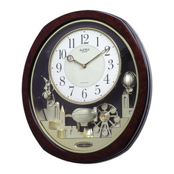 "Rhythm Clocks - 16"" x 14"" Joyful Land Musical Wall Clock Burl - At the top of each hour, the MAGIC Begins!"