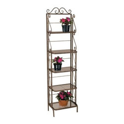 Deer Park Ironworks Skinny Bakers Rack Plant Stand - Display your favorite plants indoors or out with the Deer Park Ironworks Skinny Bakers Rack Plant Stand. Five shelves offer plenty of space for plants, vases, flowers, and more, while the delicate scrollwork along the top and sides adds a classic elegance to your decor. Made from durable, heavy gauge metal with a baked-on, powder-coat finish which helps to protect this baker stand from the elements, you can use this bakers rack indoors or out.About Deer Park Ironworks, LLCYou'll immediately recognize a yard that's been appointed with pieces from Deer Park, thanks to the classic wrought iron designs and traditional finish that has made them an power player in the outdoor furniture industry. Dedicated to creating value for their customers with durable, quality pieces of functional and ornamental wrought iron, Deer Park continues to provide timeless designs while never sacrificing customer service and satisfaction as their pursue their corporate goals.