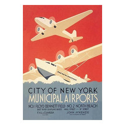"""Buyenlarge.com, Inc. - City of New York Municipal Airports (Wpa) - Paper Poster 12"""" x 18"""" - Travel & Leisure during the Heyday of Commercial Air Travel when Flying was exciting and foreign locations exotic. This poster was created by the WPA Federal Art Project in New York City to promote New York's municipal airports, circa 1937. 'City of New York Municipal Airports. No. 1 Floyd Bennett Field. No. 2 North Beach. East River Seaplane bases, Wall Street and 31st Street. F.H. LaGuardia, Mayor. John McKenzie, Commissioner of Docks."""