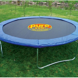 Pure Fun - Pure Fun 15-ft. Trampoline with Optional Enclosure - JZP022 - Shop for Trampolines from Hayneedle.com! Additional Features No-weld t-joints last longer than traditional welds Galvanized steel parts are rust resistant 8 rows of stitching keeps v-ring secure W-shape frame legs give added stability Thick foam padding has a durable vinyl covering Polypro jump pad is made in the USA Heavy duty galvanized steel springs Enclosure has an easy entry zipper for security Mesh fabric is UV resistant Steel clamp connectors for leg poles Poles have protective plastic top caps Elastic net straps are sewn in Netting is made from polyethylene terylene ASTM approved TUV and GS quality and safety certified Comes with patented assembly tool Includes a limited 2-year warranty Enjoy exercising outdoors jumping around or even an exciting game of truth or dare with your kids with the Pure Fun 15-ft. Trampoline with Optional Enclosure. Designed to last this trampoline is great for kids and adults alike. Able to hold up to 250 lbs. the trampoline has a frame as well as heavy-duty springs made from galvanized steel that is resistant to rust. With secure patented no-weld t-joints which last longer than welded t-joints you won't have to worry about your trampoline falling apart. Eight rows of stitching keeps the v-ring secure and the W-shaped legs give added security. The thick foam padding adds security and is covered in durable vinyl. Also the polypro jump pad is made in the USA. The optional enclosure has an easy entry zipper and features UV resistant mesh fabric. The leg poles have steel clamp connectors as well as protective plastic top caps. The netting is made from polyethylene terylene and has elastic net straps sewn in. Both the trampoline and the enclosure are ASTM approved and are TUV and GS quality and safety certified. The trampoline comes with a patented assembly tool and a limited two year warranty.