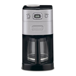 Cuisinart - Cuisinart DGB-625BC Brushed Metal Grind-and-Brew 12-cup Automatic Coffee Maker - This 12-cup coffeemaker automatically grinds the beans right before brewing to deliver the freshest coffee flavor,and the streamlined design with a brushed metal finish looks great in any kitchen. Fully programmable,with a large control panel.