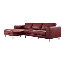 Creative Furniture - Anika Red Full Top Grain Leather Sectional Sofa - Demonstrating luxurious European sophistication, the Anika sectional sofa features quality top grain leather upholstery finished in red and chromed stainless steel legs. Also, the sofa's upholstery has contrast stitching.    Features: