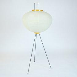 "Isamu Noguchi Sculptural Akari ""10A"" Floor Lamp with Washi Paper Shade & Metal T - Dimensions:H 50''  × D 22''"