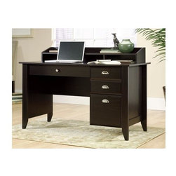 Sauder - Shoal Creek Computer Desk in Jamocha Wood Fin - Center drawer and 2 outer drawers with metal runners and safety stops. Lower drawer holds letter-size hanging files. Grommet hole for cord management. Organizer hutch with full shelf and cubbyhole storage. Patented T-lock drawer system. Made of engineered wood. Assembly required. 53 in. W x 23 in. D x 36 in. H