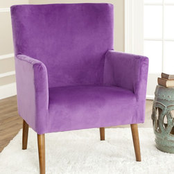 Safavieh - Safavieh Retro Purple Velvet Blend Club Chair - The Retro Collection is inspired by a resurgence of 1960's era in media and prompted a collection inspired by retro designs infused with today's colors. Simple, elegant chairs design has a timeless retro look.