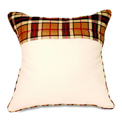 """Mystic Valley - Mystic Valley Traders Fulham Road - Euro Sham - The Fulham Road Euro sham is fashioned from the Cobblestone fabric with a Tartan panel, reversing to the Tartan fabric, with Tartan piping; sold flat (without fills); 26""""x26""""."""