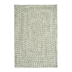 Colonial Mills, Inc. - Indoor/Outdoor Catalina, Greenery Rug, Sample Swatch - This green and white braided rug has a light, fresh look that belies its durable design. Spill on it, stomp on it or leave it in the sun and rain, and it will remain unfazed and serene lying on your patio or kitchen floor.
