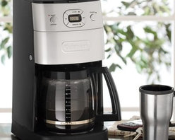 Cuisinart DGB-625BC Grind & Brew 12-Cup Automatic Coffee Maker - Get the freshest cup of coffee possible each morning with no hassle thanks to the Cuisinart DGB-625BC Grind & Brew 12-Cup Automatic Coffeemaker. This 12-cup coffeemaker grinds the beans just before brewing to deliver the freshest coffee flavor that's sure to energize and invigorate you. The streamlined design with a brushed metal finish will look stylish in any kitchen. Fully programmable with a large control panel it's easier than ever to enjoy a hot cup of coffee any time of day. This automatic machine makes that morning cup simple quick and delicious. Coffeemaker specifications: Automatically grinds whole beans before brewing 24-hour fully programmable 12-cup (5 ounces each) glass carafe Brew Pause lets you enjoy a cup before brewing has finished Adjustable auto-shutoff (0 to 4 hours) Grind-off feature for pre-ground coffee 1 to 4 cup feature Gold tone commercial-style permanent filter Charcoal water filter removes impurities About CuisinartJulia Child let people in on the Cuisinart secret and so did James Beard. They were among the first culinary experts to hail the food processor as a revolutionary kitchen appliance when it was introduced to America in 1973 by the late Cuisinart founder Carl Sontheimer. They saw the food processor as a quick and easy way to make fine food and healthy dishes. Under management from Conair Corporation since 1989 the legacy is alive and well. Today Cuisinart is a universally recognized name endorsed by culinary connoisseurs such as Jacques Pepin and Hubert Keller.