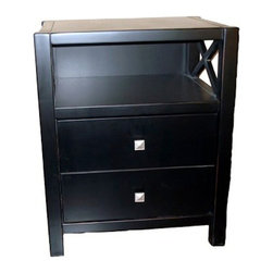 Linon - Linon Anna Storage End Table in Distressed Antique Black - Linon - End Tables - 86109C12401KDU - Whether your style is traditional or modern the stunning Antique Black finish on the Anna End Table will blend seamlessly into your decor. The end table features two drawers which conveniently store your magazines remotes and other items an ample sized top for a phone or to rest your beverage and a display shelf is to house your favorite collectibles.