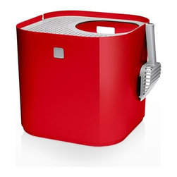 Modko - Modko Modkat Litter Box Red - This award winning cat litter box looks great out and keeps litter in. Modkat is a top entry cat litter box that embraces form as well as function, works with your décor and greatly reduces litter tracking. Its modern, patented design compliments any room, while the enclosed base and rooftop' access allows your cat the privacy needed to do their business.