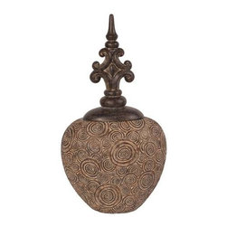 Howard Elliott Classic Antique Scrolled Aged Brown Round Urn - Classic Antique Scrolled Aged Brown Round Urn with Bronze Fleur Di Lis Top.