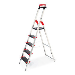 "Frontgate - Championsline 5-step Ladder - Extendable top safety rail. Extra-deep 5"" steps with nonslip ribbing and corner reinforcements. All step ladders and step stool have a 225-lb. capacity (ANSI Type II). 10-1/2"" sq. platform for solid footing at the very top step. Folds to 5"" deep. Our German-engineered Lightweight Championsline Deep-step Ladders make your safety the highest priority. Crafted of the finest commercial-grade aluminum, the extremely durable ladders feature a solid 5-inch platform at the very top step and an integrated work tray to keep tools and cables close at hand.  .  . . . .  . Aluminum frame with black and red accents on steps. Wipe clean with a semi-damp cloth."