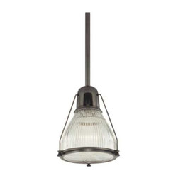 Hudson Valley Lighting - Prismatic Glass Mini-Pendant Light in Bronze Finish - 7308-OB - This mini-pendant features prismatic glass that will refract the light in all directions providing a clean, bright glow without unnecessary glare. Comes with a 3-inch, 6-inch, 12-inch, and two 18-inch stem segments which allow you to hang this fixture anywhere from 17-1/2-inches to 71-1/2 inches in length. The glass shade measures 3-1/4 inches in width and 6-inches in height. The ceiling canopy is 5-1/4-inches in diameter. Takes (1) 100-watt incandescent A19 bulb(s). Bulb(s) sold separately. Dry location rated.