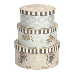 Ella Elaine Hat Boxes - Set of 3 - Part our Ella Elaine collection, these hat boxes are another treasure brought home. in her familiar way, designer Nancy Davis has breathed life into these convenient storage boxes, from a style reclaimed from an earlier era.