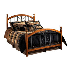 Hillsdale Furniture - Burton Way Scrolled Metal Poster Bed w Wood A - Choose Size: QueenIncludes bed grills, 4 post kit and frame. Mattress not included. Traditional scrolled design. Frame made of wood borders. Textured Black powder coated finish . Cherry post with elongated oval finialsDimensions:. Full headboard: 55 in. W x 54.25 in. H. Full footboard: 55 in. W x 35.75 in. H. Full frame: 76 in. L x 54 in. W. Queen headboard: 62 in. W x 54.25 in. H. Queen footboard: 62 in. W x 35.75 in. H. Queen frame: 83.5 in. L x 78 in. W. King headboard: 77 in. W x 54.25 in. H. King footboard: 77 in. W x 35.75 in. H.. King frame: 83.5 in. L x 78 in. W The Burton Way bed elevates the traditional wood and metal bed to a new level. Instead of featuring just the common wood post, the Burton Way bed features a slender Cherry post with elongated oval finials, and then carries the wood accent along the top and bottom of the metal grills creating continuity and strength in this design concept. Framed by these wood borders, the metal grills feature a lovely traditional scrolled design and an always versatile and durable textured Black powder coat finish.