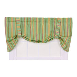 Ellis Curtain - Warwick Green Medium Scale Stripe Tie-Up Valance - -Ellis Curtain Warwick Stripe Print Tie-Up Valance ? Bring a touch of sunshine and warmth into your home with the invigorating colors and radiant design of our Warwick Stripe Curtain Program. The Warwick is a multi colored medium scale vertically oriented stripe pattern that gives a crisp visual interest that draws the eyes up creating the illusion of more height in the room. Featuring a range of shades and colors that coordinate easily with a variety of solids, checks, plaids, and florals makes it easy to fit within your home d�cor. Made with 52-percent polyester/48-percent 5-ounce cotton duck fabric creates a smooth draping effect, soft texture and easy maintenance. The Tie-Up Valance is a one-piece valance with two strap ties sewn into a decorative 3-inch rod pocket for easy hanging. Width is measured overall 60-inches, length is measured overall 24 inches from header top to bottom of panel. Warwick Tie-Up Valance can be combined with coordinating Tailored Pair of Drape Panels, Tailored Tier Curtains, Valances, Shower Curtain and Coventry Floral/Warwick Stripe Reversible Toss Pillow. Designed to coordinate with our Ellis Curtain Coventry Medium Scale Floral Curtain Program also available on Bellacor.  Machine Washable Ellis Curtain - 730462718624