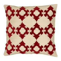 Silver Nest - Red Ornamental Down Pillow- Set of 2 - Set of two pillow covers with hidden zippers. Down pillow inserts included.
