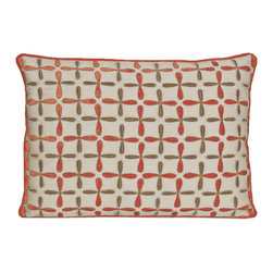 """Kevin O'Brien Studio - Petals Linen Pillow, Coral, 16x20"""" - This delicately embroidered linen pillow makes a beautiful rustic companion to the velvet version of the petals pattern; zip closure; comes with a feather/down insert"""
