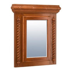 Cincinnati Medicine Cabinet - The Cincinnati medicine cabinet has a strong carved reed and a ribbon cap with a rope and a finial front. Available recessed or standard wall mount. A variety of wood species is available to ensure uniformity during the staining process.