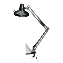 Alvin and Company - Swing-Arm Combination Lamp in Black - 10 in. Diameter heavy duty metal shade has a stay cool handle for easy positioning. Uses 1 energy-saving T5 28-watt circular fluorescent bulb (included) and 1 60-watt maximum incandescent bulb (not included). All-metal construction with 3-prong grounded power cord, electronic ballast and heavy-duty adjustable metal mounting clamp. Fluorescent and incandescent lighting in one convenient unit. Independent rocker switches operate the lights independently or together. Spring-balanced swing arm features spring covers and a generous 45 in. reach. Large comfortable thumb knobs make it easy to adjust arm and shade angle