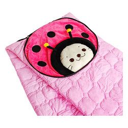 """Blancho Bedding - [Sirotan - Ladybug Pink] Blanket Pillow Cushion / Travel Blanket (39.4""""-59.1"""") - The Coral Fleece Throw Blanket Pillow Cushion / Travel Pillow Blanket measures 39.4 by 59.1 inches for blanket/quilt. The shell is embellished with details of embroidery and applique. Use it as a cushion while folded and zippered, and as a blanket/quilt while opened. Zipper on side, that is where the blanket/quilt can be stored. Whether you are adding the final touch to your bedroom or rec-room, these patterns will add a little whimsy to your decor. Machine wash and tumble dry for easy care. Will look and feel as good as new after multiple washings! This blanket adds a decorative touch to your decor at an exceptional value. Comfort, warmth and stylish designs. This throw blanket will make a fun additional to any room and are beautiful draped over a sofa, chair, bottom of your bed and handy to grab and snuggle up in when there is a chill in the air. They are the perfect gift for any occasion! Available in a choice of whimsical kid-friendly prints to spark the imagination, the blanket is durable enough to look great on the go."""