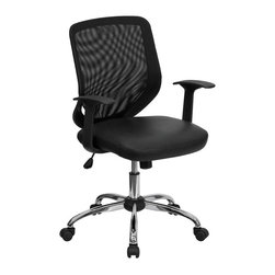 Flash Furniture - Flash Furniture Mid-Back Office Chair with Mesh Back in Black - Flash Furniture - Office Chairs - LFW95LEABKGG - This value priced mesh office task chair will accommodate your essential needs for your home or office. Chair features a breathable mesh back with a comfortably padded leather seat. Chair is height adjustable to conform to several desk sizes. [LF-W95-LEA-BK-GG]