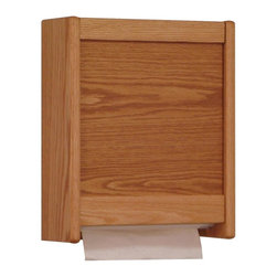 Wooden Mallet - Multi-Fold/C-Fold Oak Paper Towel Dispenser ( - Finish: Light OakGive your restroom or medical office sink area an upscale look with this wood paper towel dispenser, a beautiful alternative to traditional metal dispensers. The wall-mount unit is available in your choice of finish options and includes necessary hardware for mounting. Waterproof plastic bottom panels for long cabinet life. Extra strong magnetic closure for no key hassles. Front load allows for under cabinet mounting. Heavy duty hardware included for simple wall mounting. Mount side-by-side with matching glove/tissue box holder. Holds most standard multi-fold and c-fold towels. 1 Year warranty against defects in materials and workmanship. Made in the USA. 4.75 in. D x 12.5 in. W x 15 in. HForget using a plain metal towel dispenser. Wooden Mallet's new oak paper towel dispensers add a touch of beauty and class to your restroom or clinical setting.